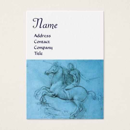 Rider on Rearing Horse Monogram,blue,cream Business Card
