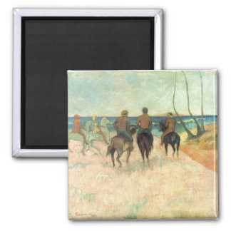Rider on the Beach - Paul Gauguin 2 Inch Square Magnet