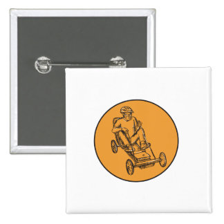 Rider Riding Soapbox Etching 2 Inch Square Button