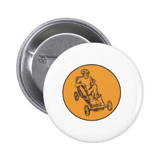 Rider Riding Soapbox Etching 2 Inch Round Button