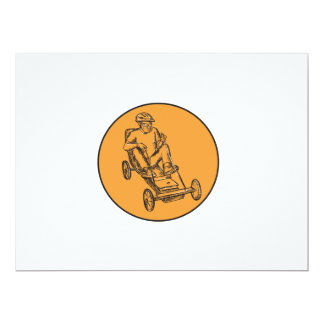 Rider Riding Soapbox Etching 6.5x8.75 Paper Invitation Card