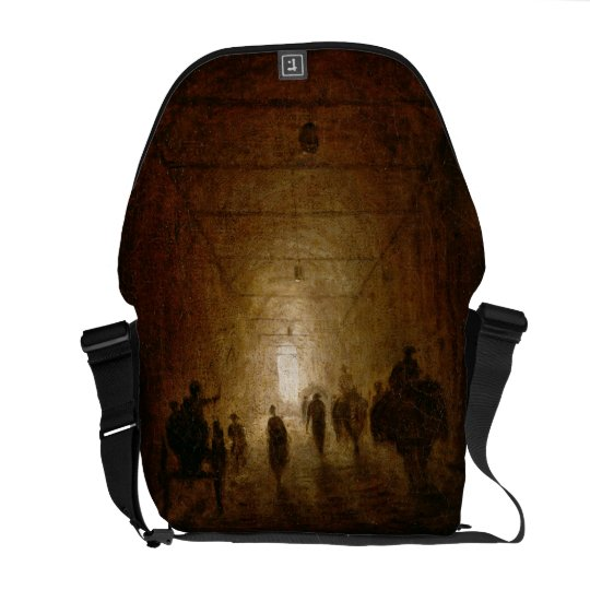 Riders and Pedestrians Passing Through an Arched P Courier Bag