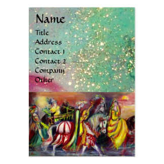 RIDERS IN THE NIGHT bright blue teal gold sparkles Business Card Templates