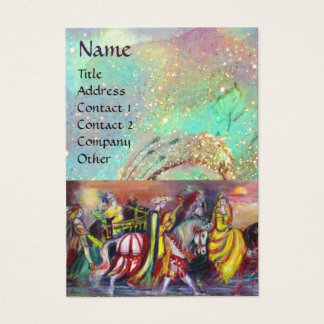 RIDERS IN THE NIGHT bright blue teal,gold sparkles Business Card