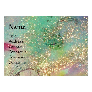 RIDERS IN THE NIGHT bright blue teal,gold sparkles Large Business Card