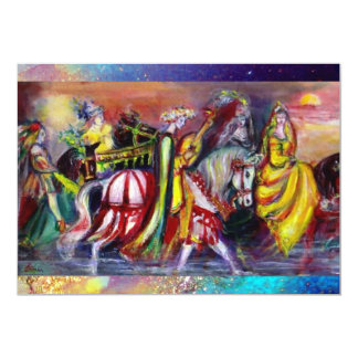 RIDERS IN THE NIGHT ,bright vibrant blue sparkles Card