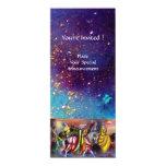 RIDERS IN THE NIGHT ,bright vibrant blue sparkles 4x9.25 Paper Invitation Card