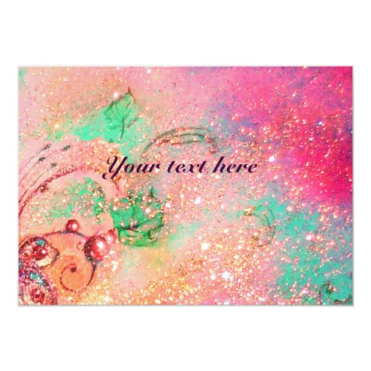 RIDERS  IN THE NIGHT.pink green sparkles Card