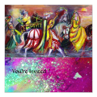 RIDERS IN THE NIGHT ,pink purple blue red sparkles Card