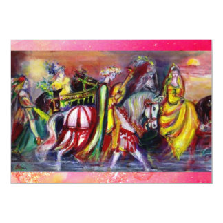 RIDERS  IN THE NIGHT ,pink sparkles 5x7 Paper Invitation Card