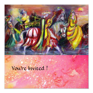 RIDERS IN THE NIGHT ,pink sparkles 5.25x5.25 Square Paper Invitation Card