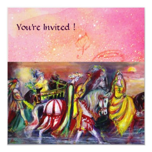 RIDERS IN THE NIGHT ,pink sparkles Invitation