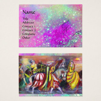 RIDERS IN THE NIGHT purple violet ,gold sparkles Business Card