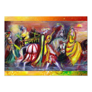 RIDERS  IN THE NIGHT, red yellow brown  sparkles Card