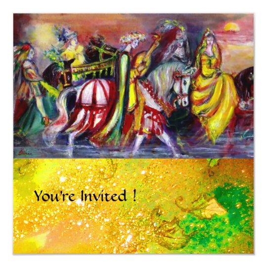 RIDERS IN THE NIGHT,yellow brown red green sparkle Card