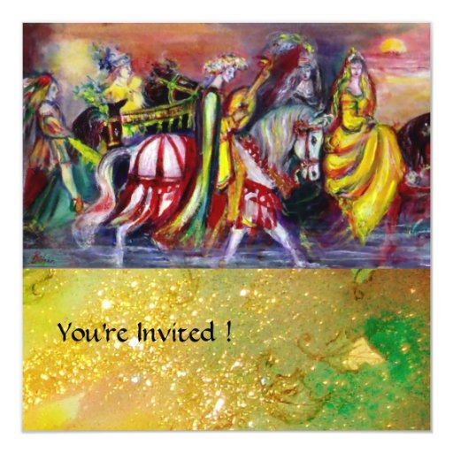 RIDERS IN THE NIGHT,yellow brown red green sparkle Custom Invitations