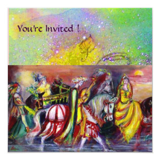 RIDERS IN THE NIGHT ,yellow purple green sparkles Card
