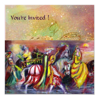 RIDERS IN THE NIGHT,yellow red brown green sparkle Card