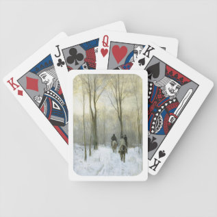 Riders In The Snow In The Haagse Wood, Anton Mauve Bicycle Playing Cards at Zazzle