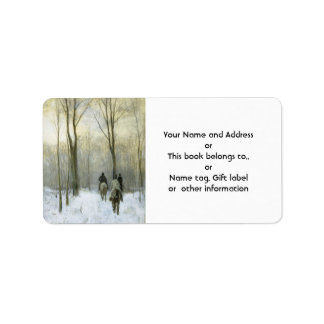 Riders in the Snow in the Haagse Wood, Anton Mauve Custom Address Labels