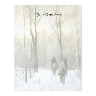 Riders In The Snow In The Haagse Wood, Anton Mauve Letterhead at Zazzle