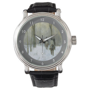 Riders In The Snow In The Haagse Wood, Anton Mauve Wrist Watch at Zazzle