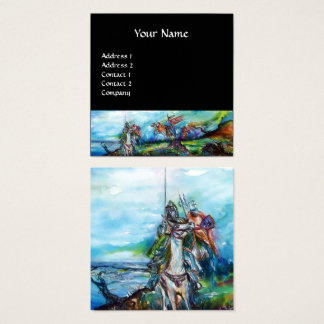 RIDERS IN THE STORM Blue Black Fantasy Square Business Card