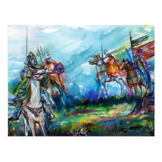 RIDERS IN THE STORM Medieval Knights Blue Postcard