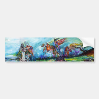 RIDERS IN THE STORM Medieval Knights Horseback Bumper Sticker