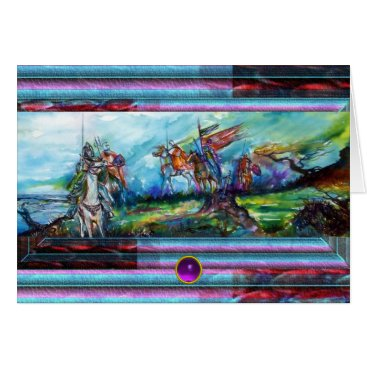 RIDERS IN THE STORM Medieval Knights Horseback Card