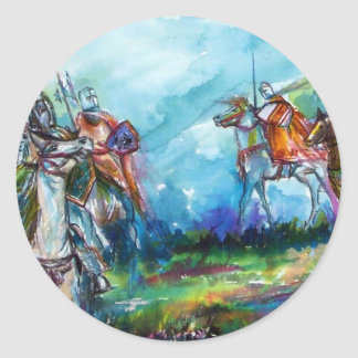 RIDERS IN THE STORM Medieval Knights Horseback Classic Round Sticker