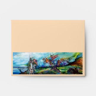 RIDERS IN THE STORM Medieval Knights Horseback Envelope