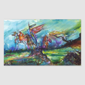 RIDERS IN THE STORM Medieval Knights Horseback Rectangular Sticker