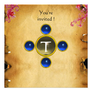 RIDERS IN THE STORM monogram sapphire Custom Invitations