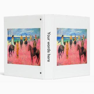 Riders on beach horsemen horses art by Gauguin Vinyl Binder