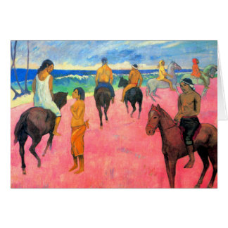 Riders on beach horsemen horses art by Gauguin Greeting Card