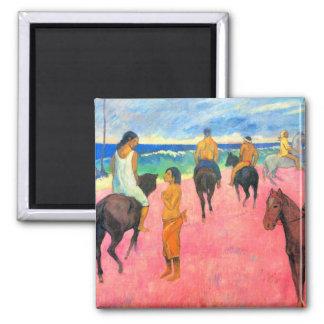 Riders on beach horsemen horses art by Gauguin 2 Inch Square Magnet