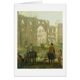 Riders Pausing by the Ruins of Rievaulx Abbey, c.1 Greeting Card