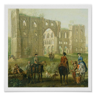 Riders Pausing by the Ruins of Rievaulx Abbey, c.1 Poster