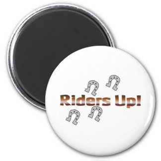 riders up! silver horseshoes 2 inch round magnet