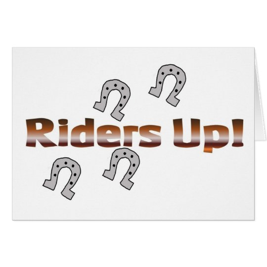 riders up! silver horseshoes card