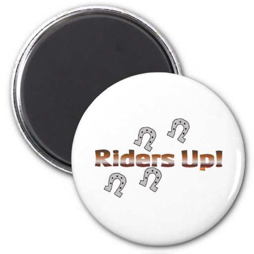 riders up! silver horseshoes magnets