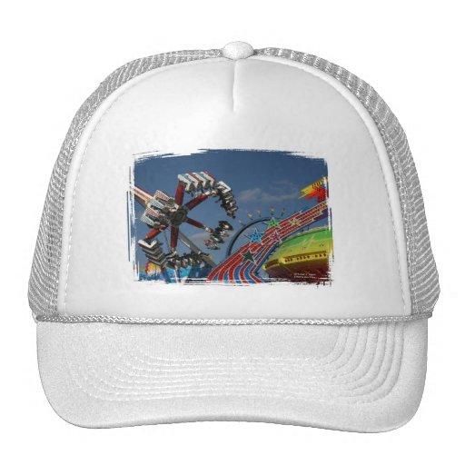 Rides against a blue sky mesh hats