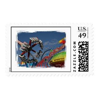 Rides against a blue sky postage