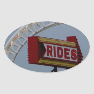 Rides and Roller Coaster Oval Sticker