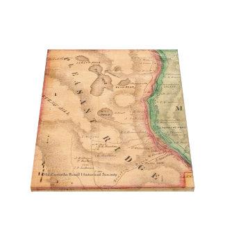 Ridge agradable, Maine - mapa 1860 Lona Estirada Galerías