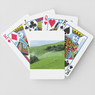 Ridge en pasto alpino con las regaderas de la baraja cartas de poker