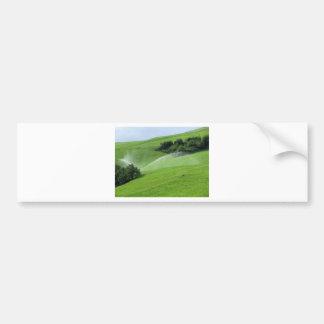 Ridge on alpine pasture with grass sprinklers bumper sticker