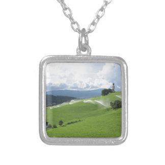 Ridge on alpine pasture with grass sprinklers pendants