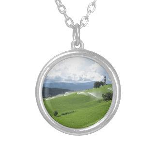 Ridge on alpine pasture with grass sprinklers custom necklace